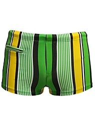 Men's Striped Nylon Spandex Lined Zipper Pocket Boxers Swim Shorts