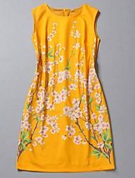 Fleur Jaune Robe sans manches des femmes