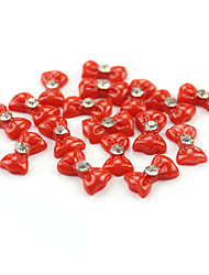 20PCS 3D Red Resin Rhinestone Bowknot Nail Decorations
