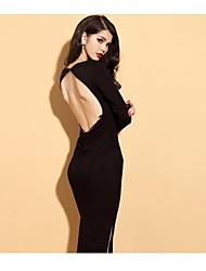 Cuello redondo de las mujeres Backless vestir de manga larga