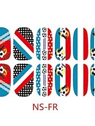 3D Self-Adhensive French Flag Nail Decals Football Games Fan Decoration Nail Art Stickers