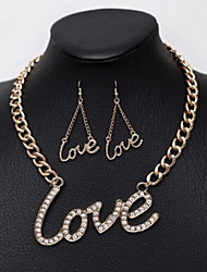 Shixin® Vintage Alphabet Pattern With Cubic Zirconia  Alloy (Necklaces&Earrings) Vintage Jewelry Sets