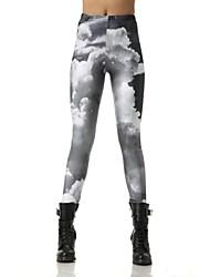 Elonbo White Cloudsr Style Digital Painting Tight Women Leggings
