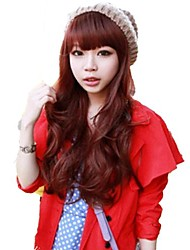 Capless Side Bang Synthetic Stylish Red Wine Long Wavy Wigs