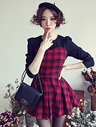 Women's Plaid Red/White Dress , Work/Cute Crew Neck Long Sleeve Pleated