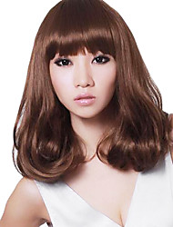 Capless Medium Curly Hair Stylish Synthetic Full Bang Wigs Honey Brown