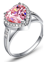 Sweet Sliver Pink With Cubic Zirconia Heart Cut Women's Ring(1 Pc)