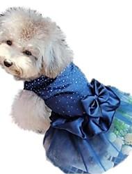 Gatos / Perros Vestidos Rojo / Azul / Dorado Verano / Primavera/Otoño Lentejuelas / Un Color Boda
