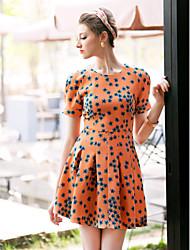TS Print Bub Sleeves Swing Dress