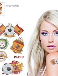 Motif 2PCS Football Coupe du Monde Espagne étanche Body Tattoo temporaire Glitter autocollants