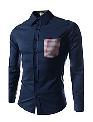 Bote Men's Shirt Collar Check Long Sleeve Shirt