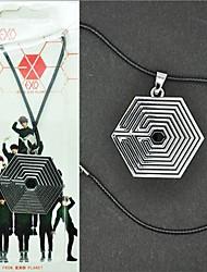 K-Pop-Star-EXO Sechseck Symbol Alloy Männer Cosplay Halskette