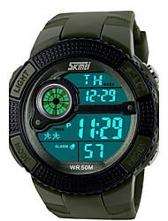 SKMEI Hombre Reloj Deportivo Reloj digital Cuarzo Digital Cuarzo Japonés LED Calendario Cronógrafo Resistente al Agua alarma PU Banda