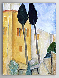 Hand Painted Oil Painting Abstract Cypress Trees and Houses with Stretched Frame Ready to Hang