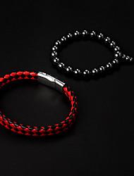 Cheap couro vermelho + preto Pulseira Redonda Pedra Agulha Holograma Pulseira (2pcs)