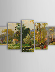 Hand Painted Oil Painting Landscape People Spring Outing with Stretched Frame Set of 5