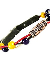 Wooden Beads Leather Beaded Collars for Pet Dog (Assorted Sizes)