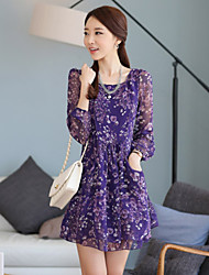 Cool Women's Floral Print Long Sleeve Fitted Skinny Chiffon Dress