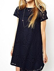 Woman's New Loose Short Sleeve Lace Dress