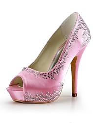 Satin Women's Wedding Stiletto Heel Peep Toe Pumps Shoes(More Colors)