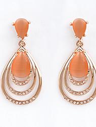 DiShiZi Overgild European Bohemia Vintage Teardrop Earings(Orange)