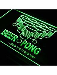 Beer Pong получает ваши шары мокрый неоновый свет
