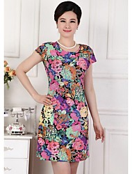 Suit le modèle de fleur de la maman heureuse de la mode des nouvelles femmes de robe de mousseline de soie Design pour Fat et Slim Type 6