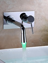 Contemporary Wall Mounted LED with  Ceramic Valve Single Handle One Hole for  Chrome , Bathroom Sink Faucet