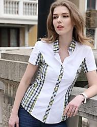 Women's Plaid Green/Pink/Yellow Shirt , Shirt Collar Short Sleeve