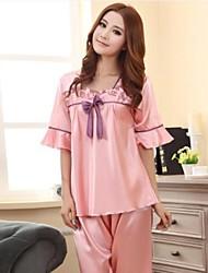 Damenmode Bowknot Silk Pyjamas