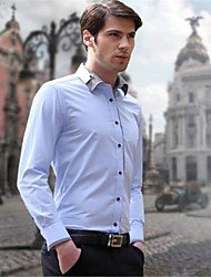 Men's Solid Casual / Work / Formal Shirt,Cotton Blend Long Sleeve Black / Blue / Pink / Purple / White