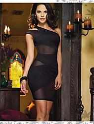 Preto Sexy malha Oblique Vestido das mulheres
