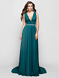Formal Evening / Military Ball Dress - Plus Size / Petite A-line / Princess V-neck Sweep/Brush Train Chiffon