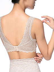 Women's comfortable no steel wide straps full lace u back bra