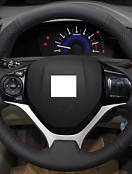 Genuine Leather Steering Wheel Cover For Honda Civic 2012 2013 Civic Black Red Sewing Thread