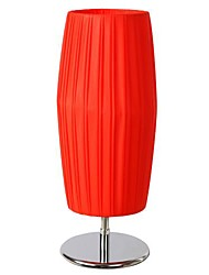 Red Cylinder Table Lamp 1Light Modern Pe Fabric Weaving