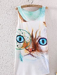 Frauen Cat Fashion ärmelloses Rundhals Druck Vest