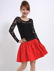 Women's Elastic Waist Red Skirt