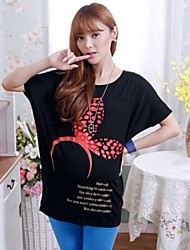 New Fashion Cartoon Printed T-shirts for Pregnant Women Loose Batwing Letter Tops Maternity Wear