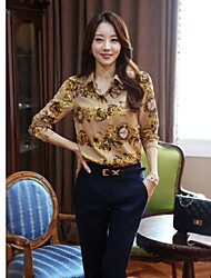 JFS Women's Long Sleeve Floral Pattern Fitted Chiffon T Shirt