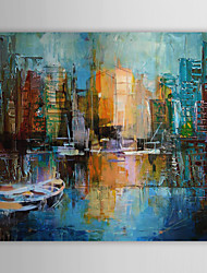 Hand Painted Oil Painting Landscape Knife Painting Venice Harbour Scenery with  Stretched Frame
