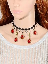 Elonbo orange vif Gemmes Vintage Style Gothic Lolita collier tour de cou pendentif bijou