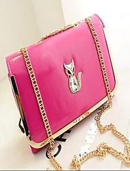 Donna di colore della caramella dorata laterale catena di diamante con Fox Shoulder Bag Handbag Messenger Bag