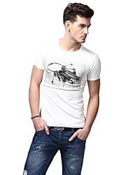 Summer Casual col rond de mode de coton blanc T-shirts U-requin hommes Sauvegarde shirt EOZY