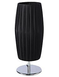 Black Cylinder Table Lamp 1Light Modern Pe Fabric Weaving