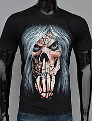 Men's Fashion Gothic Style Skull With Its Finger Moon Printed T-Shirt
