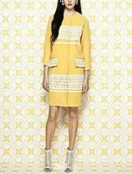 Women's Lace Long Sleeve Yellow  Trench Coat