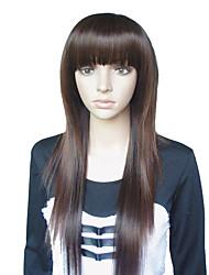 25 Inch Estilo Europeo larga recta marrón castaño pelucas sintéticas completa de Bang