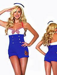 Costumes de Cosplay Uniformes Fête / Célébration Déguisement Halloween Bleu Mosaïque Robe / Chapeau Halloween / Carnaval Polyester
