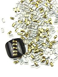 300PCS 3D Golden Rectangle Alloy Nail Art Golden&Silver Decorations